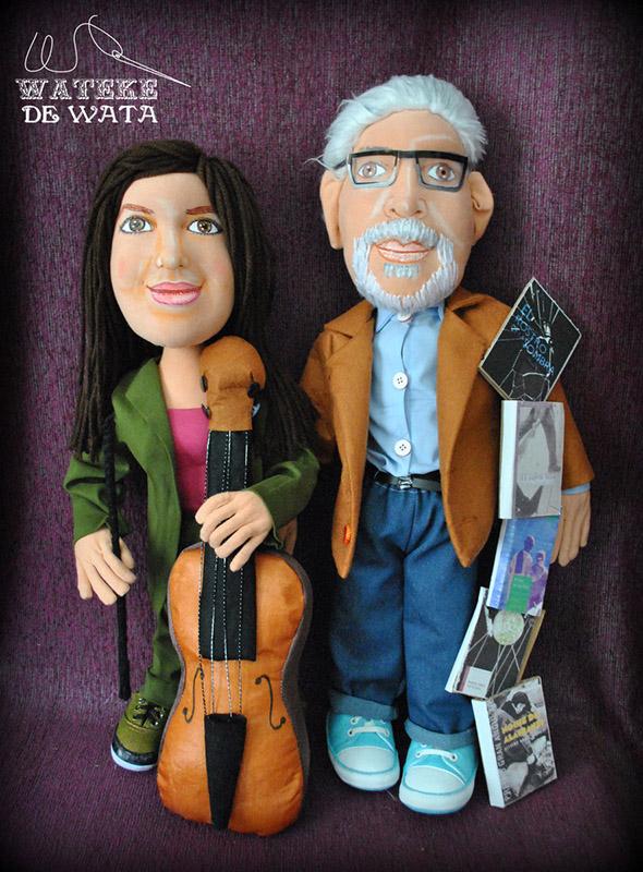 muñecos personalizados de trapo de pareja con cara de personas reales
