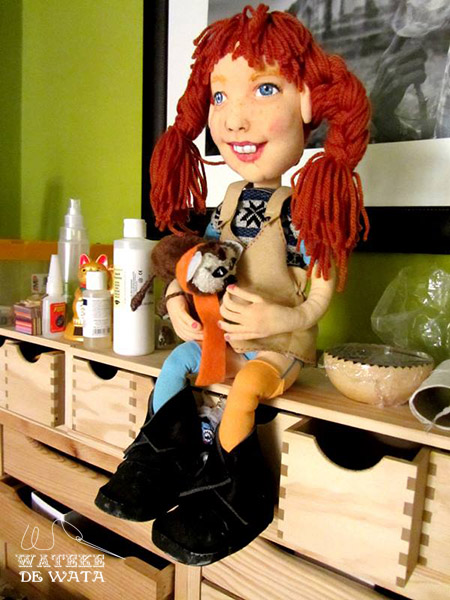 muñeca Pipi Calzaslargas personalizada de trapo hecha a mano