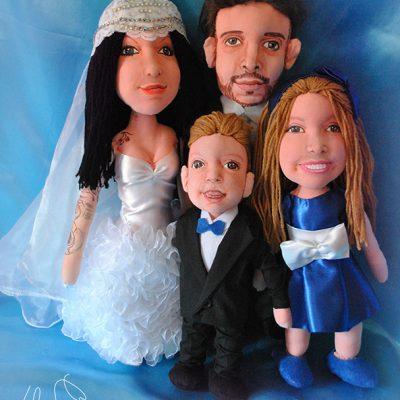 figuras de trapo personalizadas para bodas de familia