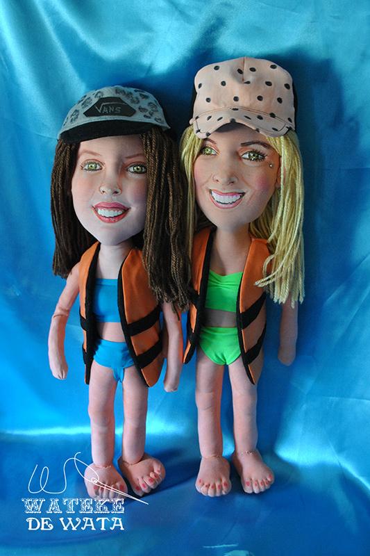 muñecas de trapo de dos hermanas para regalo de boda