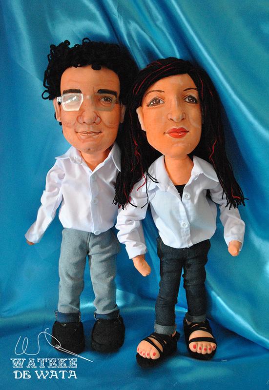 figuras de trapo hechas a mano personalizadas con cara de pareja