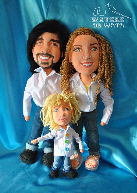 figuras de familia hechas a mano personalizadas de padres con niño