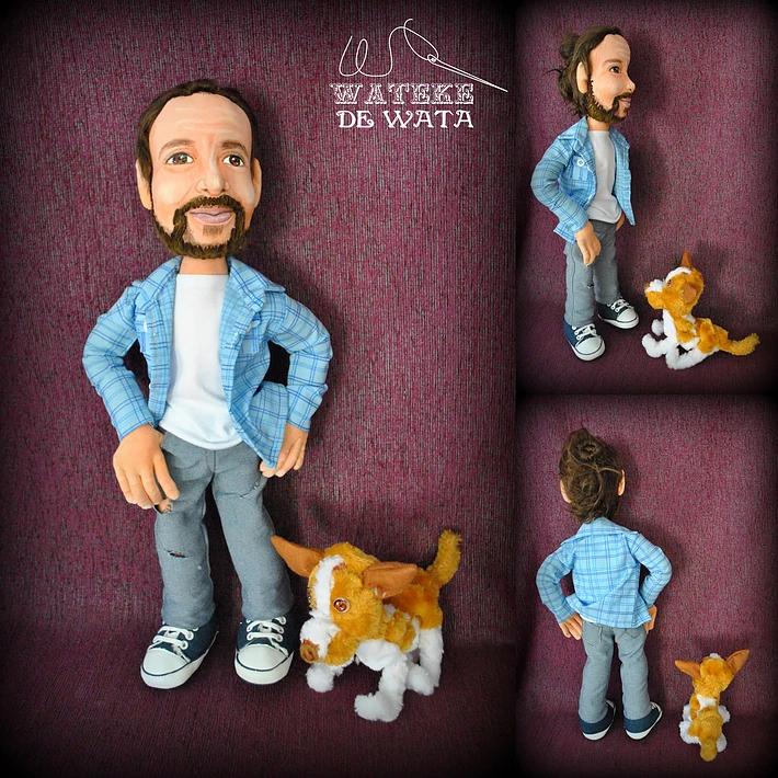 muñecos personalizados con tu cara y mascota, figuras articuladas, hechas a mano, de trapo