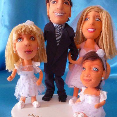 muñecos personalizados tarta para bodas, figuras de novios con niñas, hechas a mano