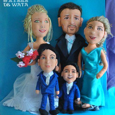 venta de muñecos personalizados boda con familia, hechos a mano, de trapo