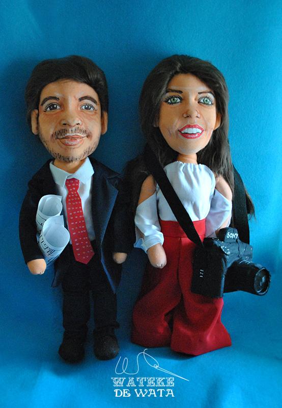 muñecos de profesiones personalizados para bodas, con cara de novios