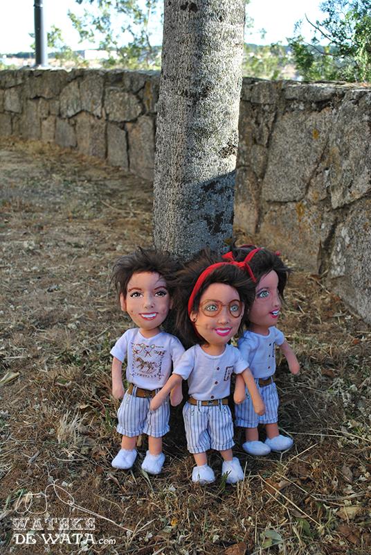 muñecos personalizados retrato de trillizos únicos y artesanales