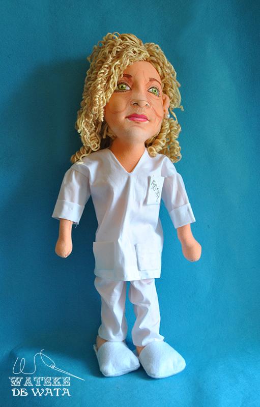 muñeca de trapo de enfermera con tu cara